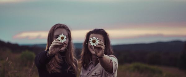 friends with flowers on face ovarian